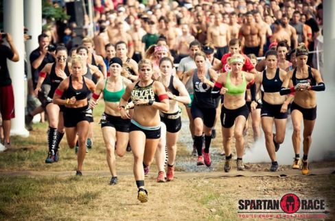 Spartan Race finish line. Ahead of the pack.